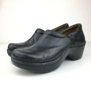 Ariat Clog Shoes Black Round Toe Leather Slip On